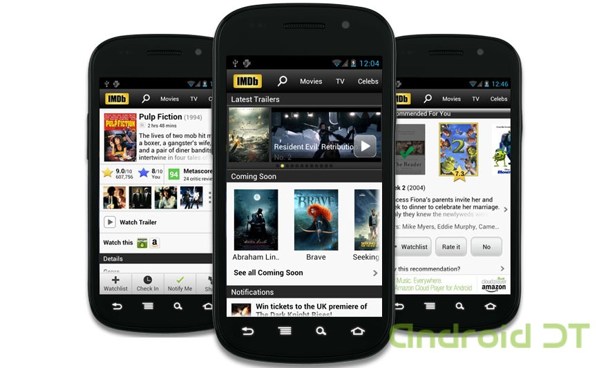IMDB-movie-app-for-Android-showing-multiple-screenshots